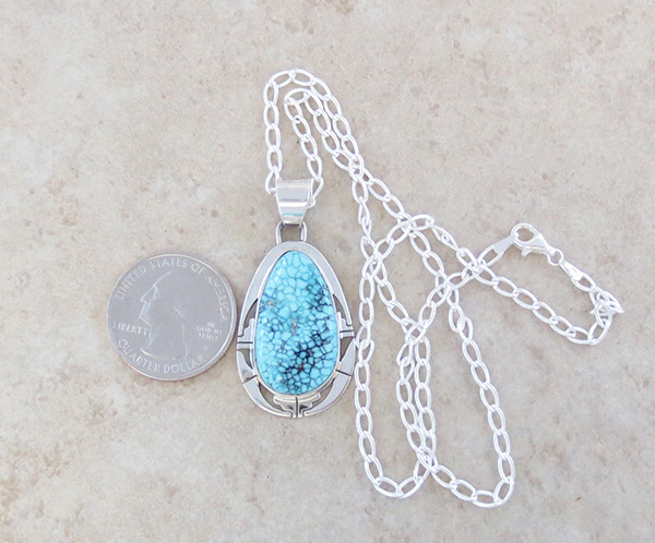 Image 1 of  Native American Jewelry Turquoise & Sterling Silver Pendant W/ Chain - 5309sn