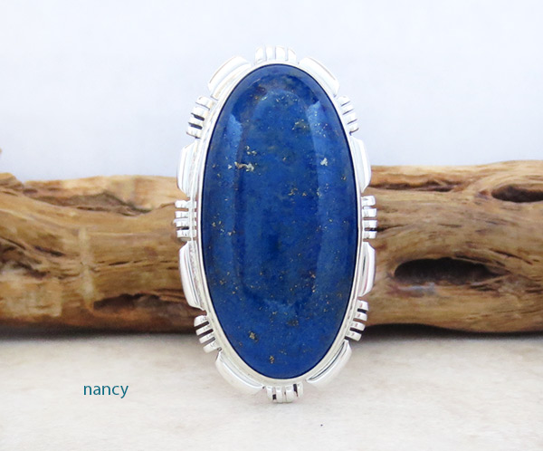 Lapis & Sterling Silver Ring Sz 8 Native American Jewelry - 5312at