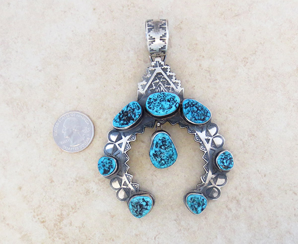 Image 1 of Turquoise & Sterling Silver Pendant Native American Jewelry - 5311rb