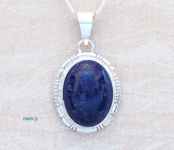 Image 0 of     Lapis & Sterling Silver Pendant w/Chain Native American Jewelry - 4763at