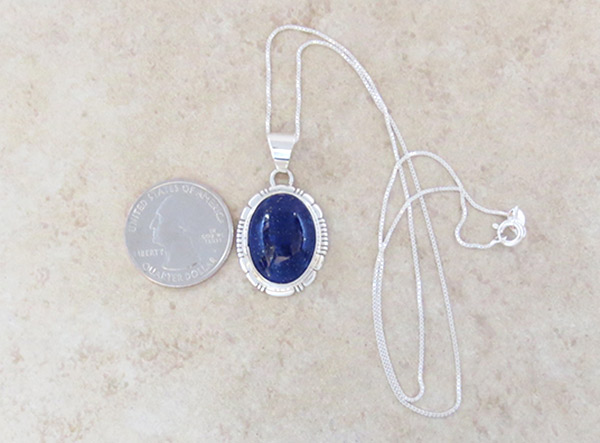 Image 1 of     Lapis & Sterling Silver Pendant w/Chain Native American Jewelry - 4763at