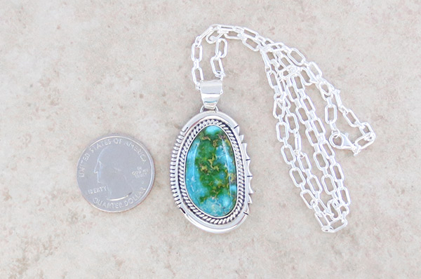 Image 1 of       Turquoise & Sterling Silver Pendant Native American Jewelry - 4766sn