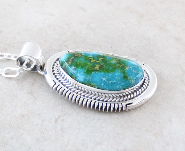 Image 2 of       Turquoise & Sterling Silver Pendant Native American Jewelry - 4766sn