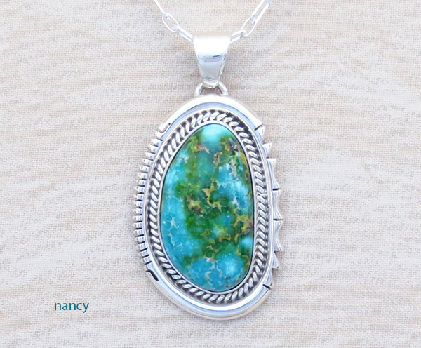 Image 0 of       Turquoise & Sterling Silver Pendant Native American Jewelry - 4766sn