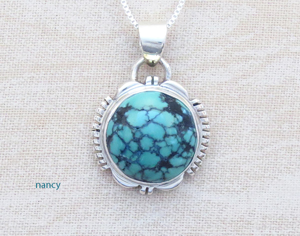 Image 0 of Small Turquoise & Sterling Silver Pendant Native American Jewelry - 4765at