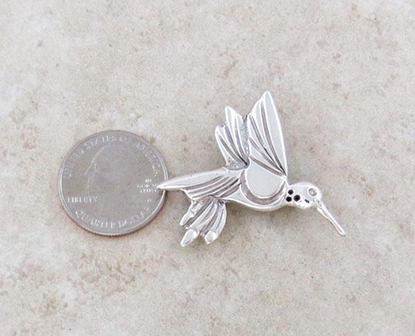 Image 1 of      Sterling Silver Hummingbird Pendant / Pin Native American Jewelry - 2659sn