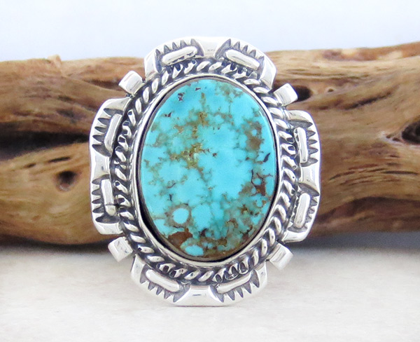 Native American Jewelry Turquoise & Sterling Silver Ring Sz 7 - 1824dt