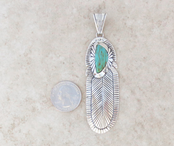 Image 1 of     Turquoise & Sterling Silver Feather Pendant Native American Jewelry 1854rb