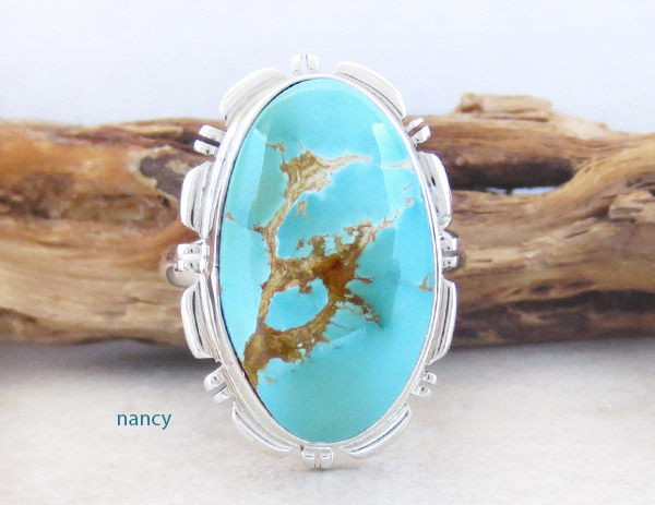 Native American Jewelry Turquoise & Sterling Silver Ring Sz 10 - 1831at