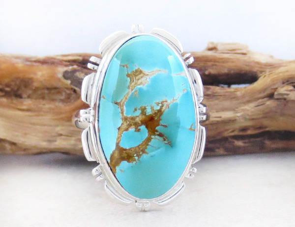 Image 3 of    Native American Jewelry Turquoise & Sterling Silver Ring Sz 10 - 1831at