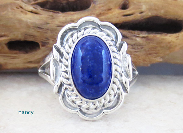 Small Lapis & Sterling Silver Ring Sz 9 Native American Jewelry - 1868at