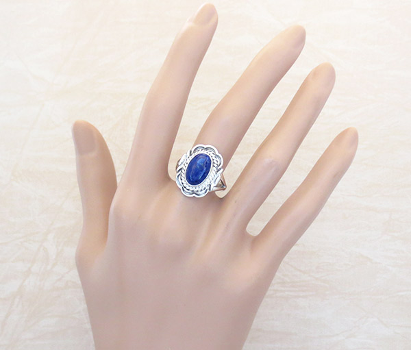 Image 1 of      Small Lapis & Sterling Silver Ring Sz 9 Native American Jewelry - 1868at