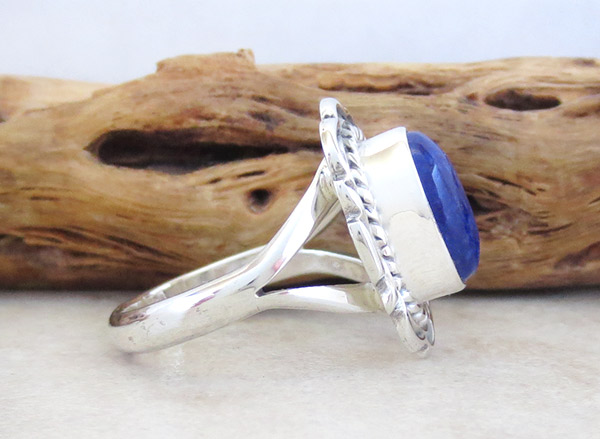 Image 2 of      Small Lapis & Sterling Silver Ring Sz 9 Native American Jewelry - 1868at