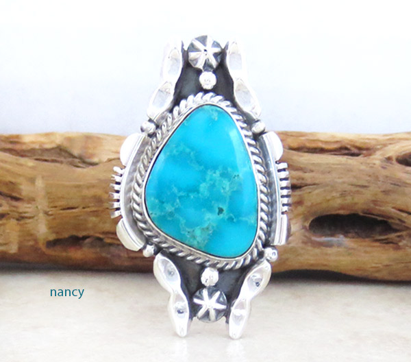 Turquoise & Sterling Silver Ring Sz 9 Native American Jewelry - 1416rb