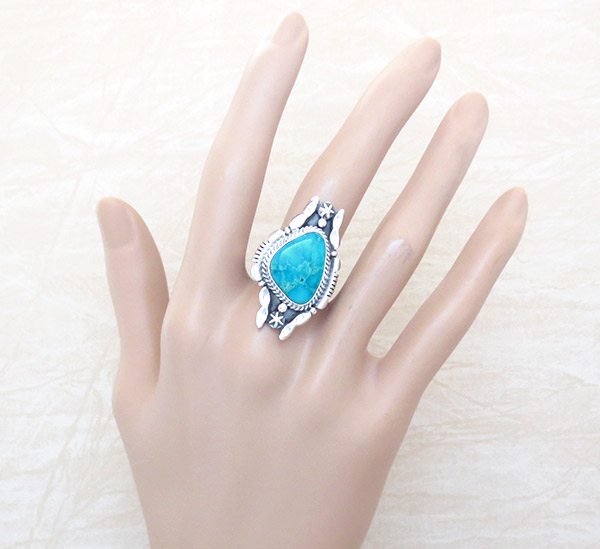 Image 1 of       Turquoise & Sterling Silver Ring Sz 9 Native American Jewelry - 1416rb