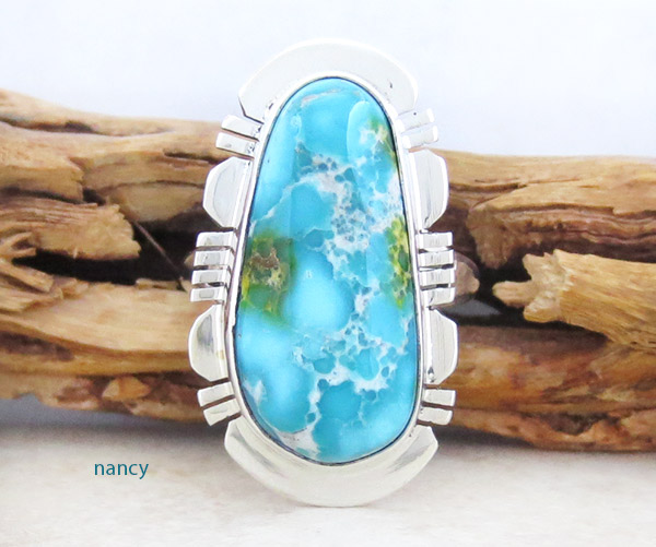 Turquoise & Sterling Silver Ring Sz 7.25 Native American Jewelry - 1415sn