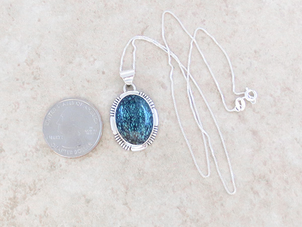 Image 1 of    Turquoise & Sterling Silver Pendant Native American Jewelry - 5316at