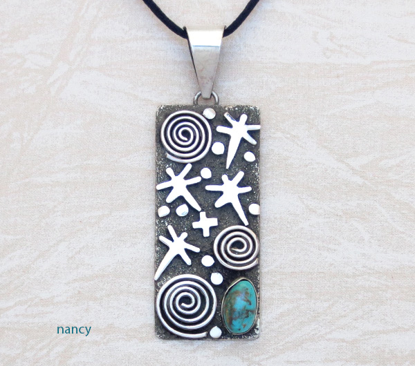 Turquoise & Sterling Silver Pendant Native American Jewelry - 5314rb