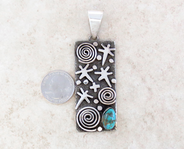 Image 1 of    Turquoise & Sterling Silver Pendant Native American Jewelry - 5314rb