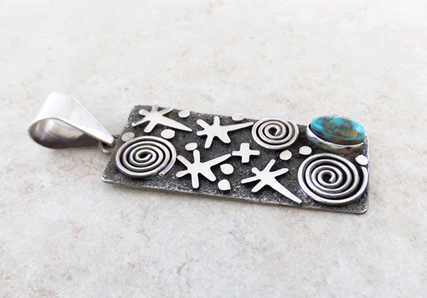 Image 2 of    Turquoise & Sterling Silver Pendant Native American Jewelry - 5314rb
