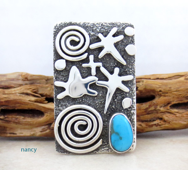 Turquoise & Sterling Silver Ring sz 9.75 Native American Jewelry - 5318rb