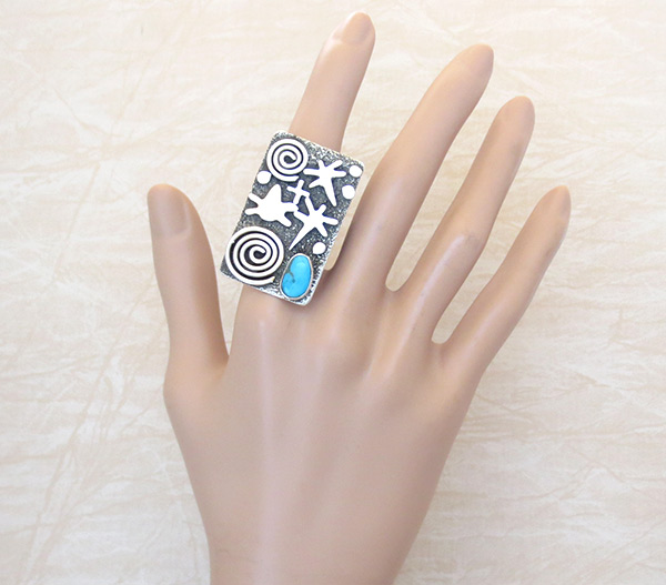 Image 1 of   Turquoise & Sterling Silver Ring sz 9.75 Native American Jewelry - 5318rb