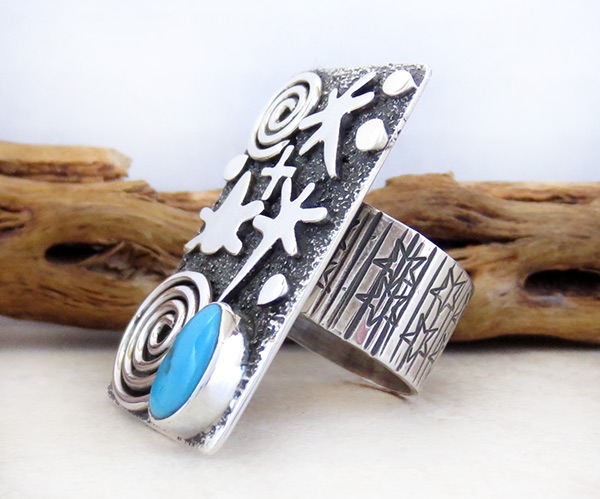 Image 4 of     Turquoise & Sterling Silver Ring sz 9.75 Native American Jewelry - 5318rb