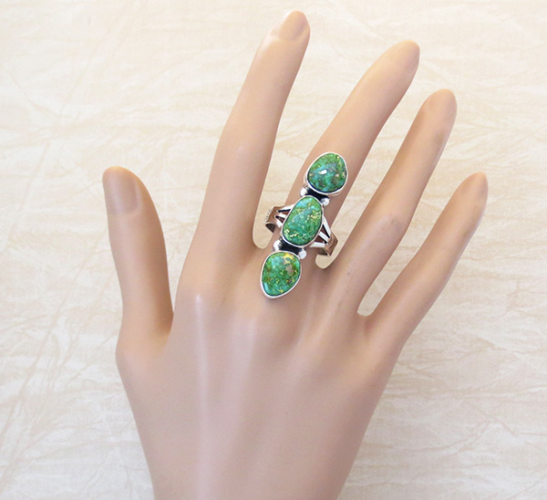 Image 1 of     Turquoise & Sterling Silver Ring Sz 9.25 Native American Jewelry - 5317sn