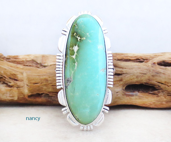 Native American Jewelry Royston Turquoise & Sterling Silver Ring sz 8 - 4942at