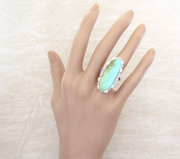 Image 1 of   Native American Jewelry Royston Turquoise & Sterling Silver Ring sz 8 - 4942at