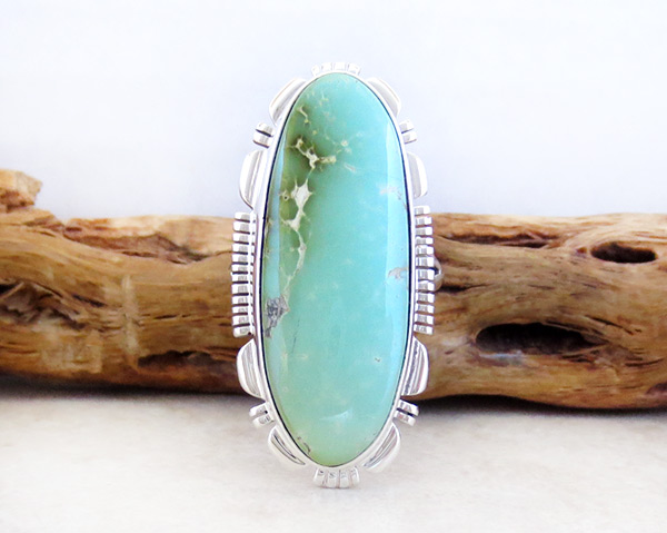 Native American Jewelry Turquoise & Sterling Silver Ring sz 8 - 4942at