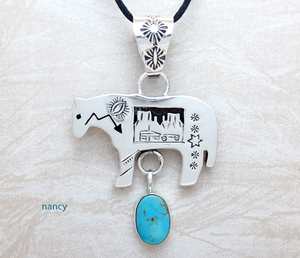 Image 0 of   Turquoise & Sterling Silver Horse Pendant Native American Jewelry - 4945rb