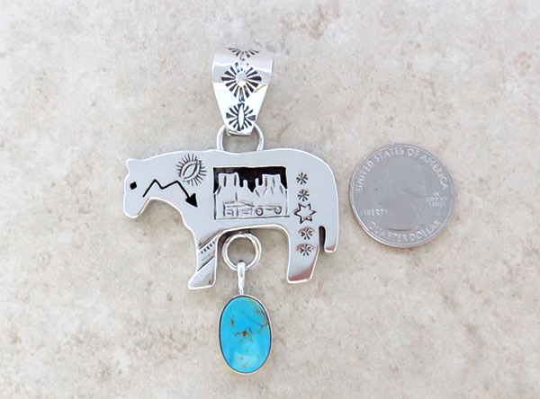 Image 1 of   Turquoise & Sterling Silver Horse Pendant Native American Jewelry - 4945rb