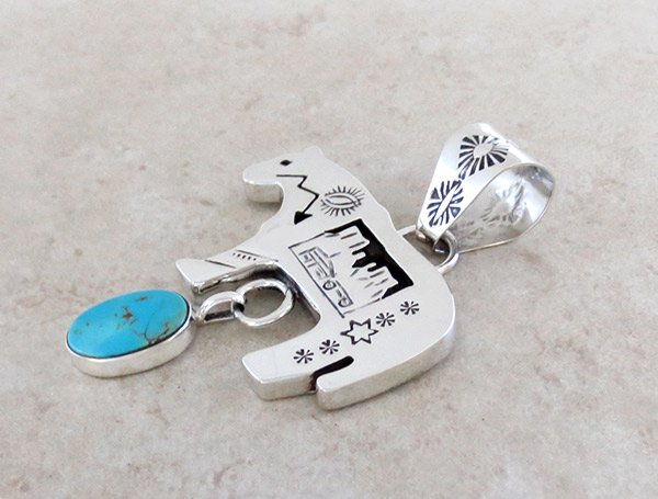 Image 3 of   Turquoise & Sterling Silver Horse Pendant Native American Jewelry - 4945rb