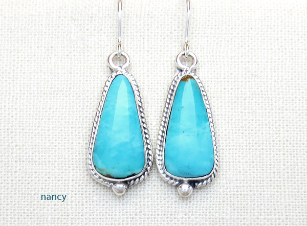 Turquoise & Sterling Silver Earrings Native American Jewelry - 5045sn
