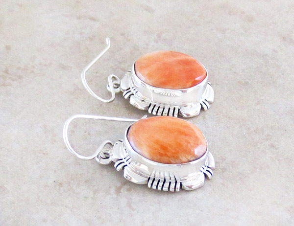 Image 1 of    Spiny Oyster & Sterling Silver Earrings Native American Jewelry - 5047at