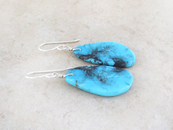 Image 1 of       Native American Jewelry Turquoise Slab Earrings - 5048pl