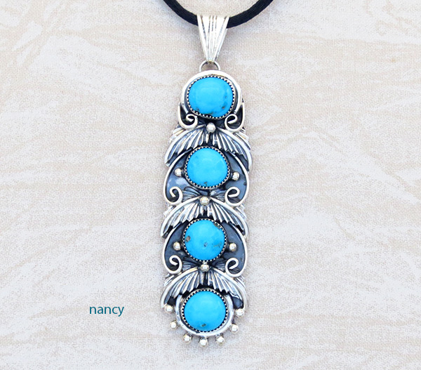 Turquoise & Sterling Silver Pendant Native American Jewelry  - 4941rb