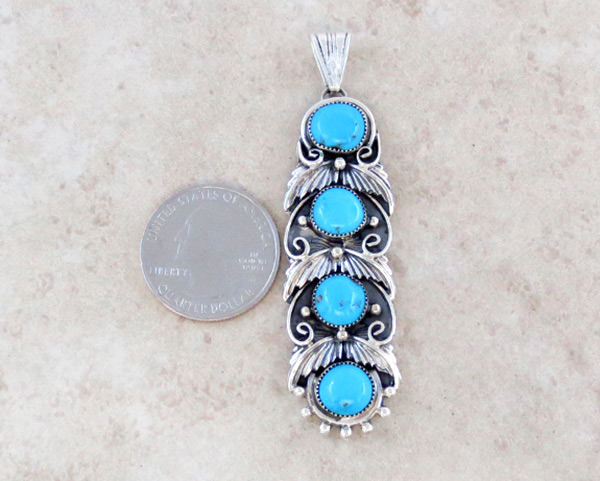 Image 1 of     Turquoise & Sterling Silver Pendant Native American Jewelry  - 4941rb