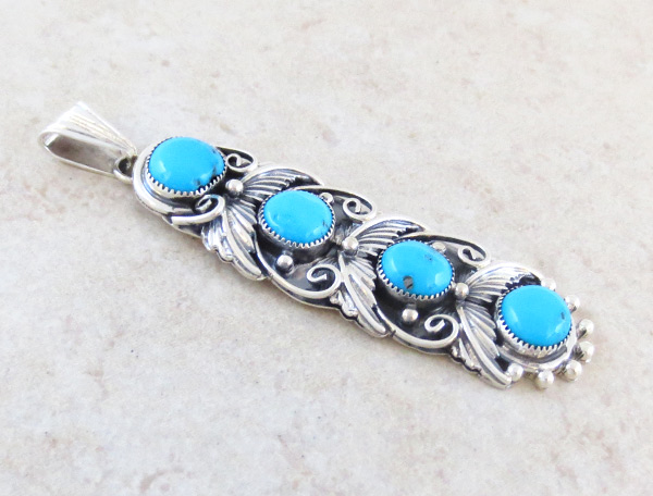Image 2 of     Turquoise & Sterling Silver Pendant Native American Jewelry  - 4941rb