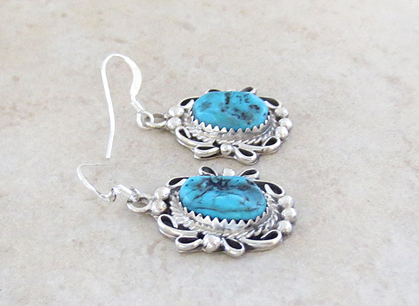 Image 1 of   Sterling Silver & Turquoise Earrings Native American Jewelry - 5046rb