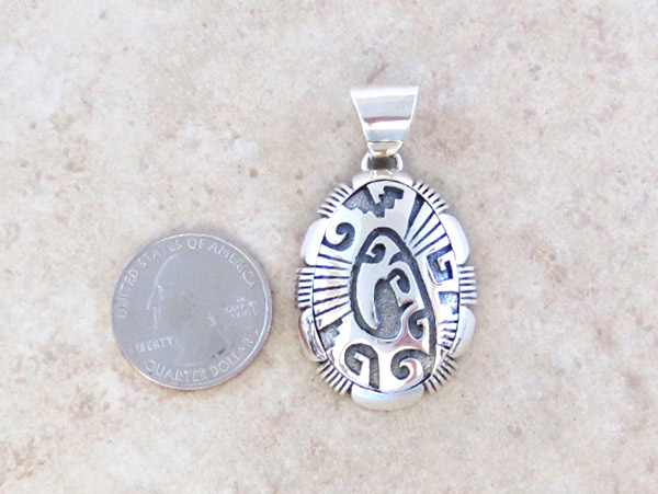 Image 1 of      Sterling Silver Overlay Pendant Native American Jewelry - 5044at