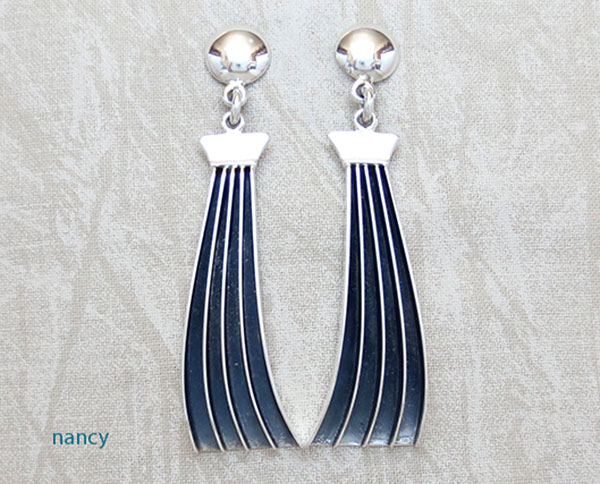 Image 0 of Large Sterling Silver & Black Earrings Navajo James Bahe - 4948rb