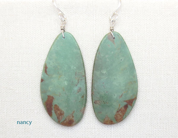 Native American Turquoise Slab Earrings Kewa Jewelry - 4947pl