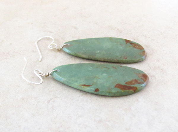 Image 1 of  Native American Turquoise Slab Earrings Kewa Jewelry - 4947pl