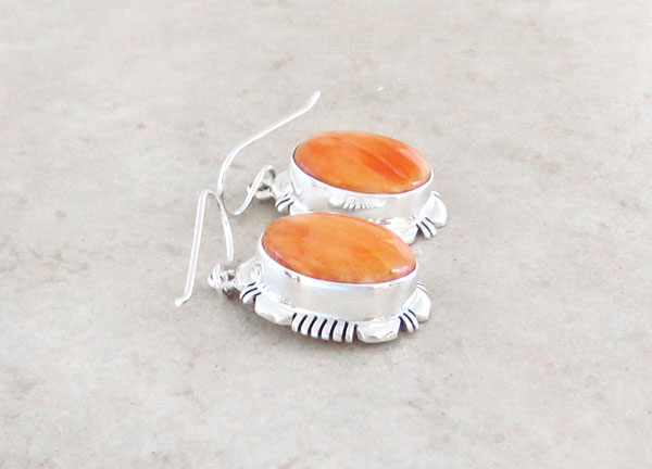 Image 1 of   Spiny Oyster & Sterling Silver Earrings Native American Jewelry  - 4951at