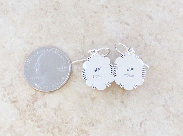 Image 2 of   Spiny Oyster & Sterling Silver Earrings Native American Jewelry  - 4951at