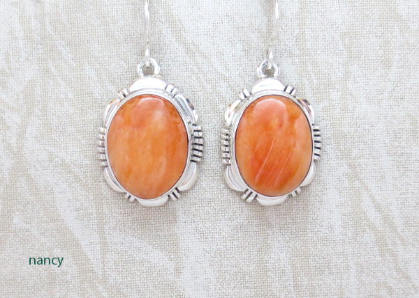 Image 0 of   Spiny Oyster & Sterling Silver Earrings Native American Jewelry  - 4951at