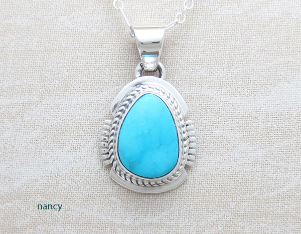 Image 0 of Small Kingman Turquoise Pendant Native American Jewelry - 4954sn