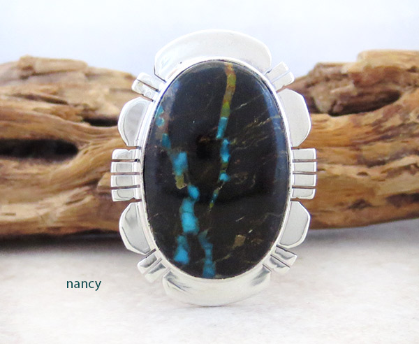 Boulder Turquoise & Sterling Silver Ring Sz 7.5 Native American Jewelry - 4957sn
